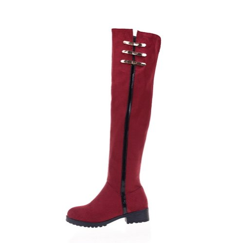 VogueZone009 Women's Round Toe Split Joint Metal Ornament Square Heels Frosting Knee Boots with Zipper, Red, 8 B(M) US