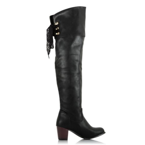 VogueZone009 Women's Round Toe Lace-up Closure Glossy Metal Ornament Chunky Heels Knee Boots with Ribbons, Black, 46