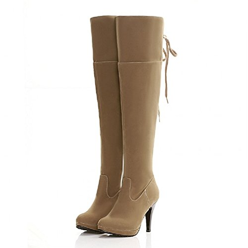 Charm Foot Fashion Womens High Heel Over the Knee Riding Boots (13, Apricot)