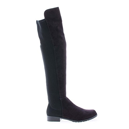 Iconic01 Black Faux Suede Over The Knee Dual Fabric Round Toe Riding Boots-7.5