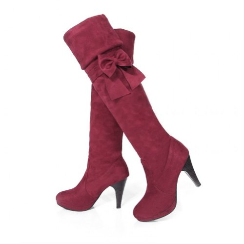 Charm Foot Fashion Bows Womens Platform High Heel Over the Knee Boots (12, Wine Red)