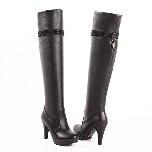 Charm Foot Fashion Womens Platform High Heel Over the Knee Boots (8.5, Black)