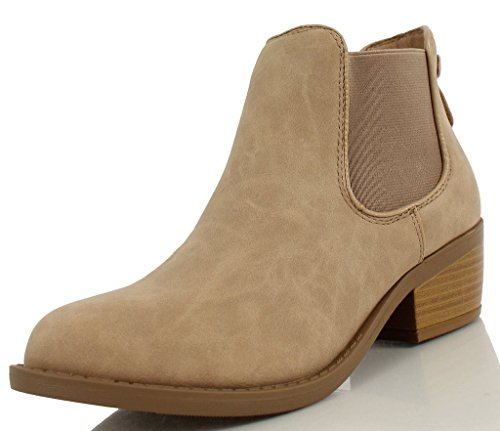 Soda Women's Chelsea Faux Leather Elastic Side Panel Ankle Boots Dress, Beige, 9 M US