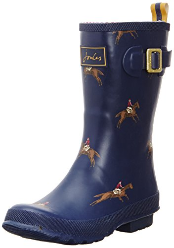 Joules Women's Molly Welly Rain Boot, Navy Horse, 8 M US