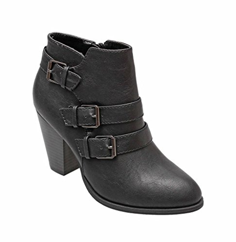 Titan Mall Forever Camila-64 Womens Fashion Chunky Heel Buckled Strap Ankle Booties
