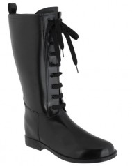 Capelli New York Solid Lace Up With Eyelets And Pull Loop Ladies Tall Equestrian Rain Boot Black 9