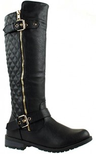 Forever Mango-21 Women's Winkle Back Shaft Side Zip Knee High Flat Riding Boots Black 10