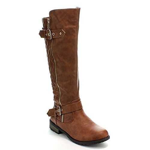 Forever Mango-21 Women's Winkle Back Shaft Side Zip Knee High Flat Riding Boots Tan 10