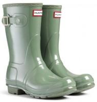 Hunter Womens Original Short Gloss Wellington Boots – Moss Green