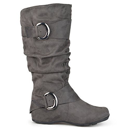 Brinley Co. Womens Buckle Knee-High Slouch Boot In Regular and Wide-Calf Sizes Grey 10