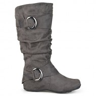Brinley Co. Womens Buckle Knee-High Slouch Boot In Regular and Wide-Calf Sizes Grey 10 Wide Calf