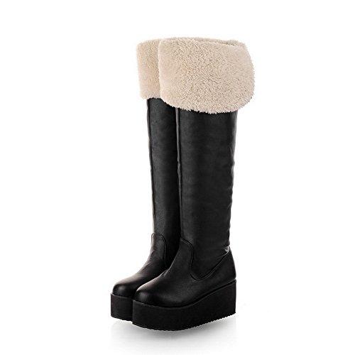 WeenFashion Womens Closed Round Toe Mid Heel Platform Short Plush PU Solid Boots, Black, 8.5 B(M) US