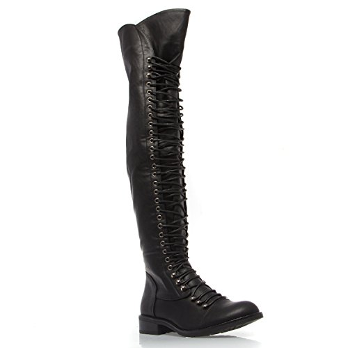 V-Luxury Womens 11-TRAVIS05 Closed Toe Over The Knee Low Heel Military Boot Shoes, Black PU Leather, 6.5 B (M) US