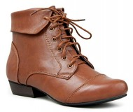 INDY-11 Lace Up Oxford Cuffed Anke Bootie Boot,Indy-11 Tan 8