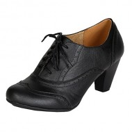 Refresh Women Leatherette Lace Up Oxford Chunky Heel Bootie