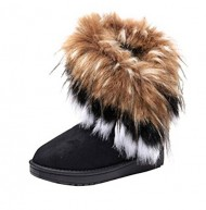 Gaorui women winter warm high long snow Ankle boots faux fox rabbit fur tassel shoes-US7.5_Black