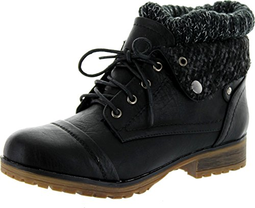 REFRESH WYNNE-01 Women's combat style lace up ankle bootie,7.5 B(M) US,Black