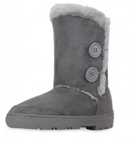 Clpp'li Womens Twin Button Fully Fur Lined Waterproof Winter Snow Boots-Grey-8
