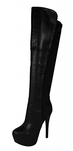 Speed Limit 98 Women's Abby Over The Knee Platform Heel Boots Back Elastic Fabric, black leatherette, 7.5 M US