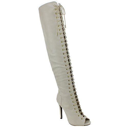 DOLLHOUSE CONFIDENCE Women's Over The Knee Lace Up Peep Toe Fetish High Heel Boots, Color:IVORY, Size:8.5