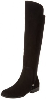AK Anne Klein Women's Citygurl Suede Riding Boot,Black Suede,8 M US