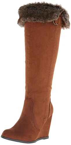 Qupid Women's Noya 01 Winter Boot, Dark Rust, 9 M US