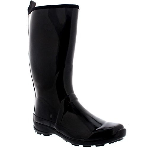 Womens Contrast Sole Tall Rubber Gloss Winter Snow Rain Wellies Boots