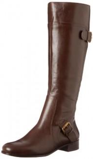 Nine West Women's Sookie Boot,Dark Brown Leather,5.5 M US