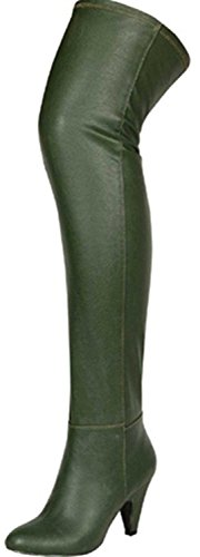 Women's Breckelle'S Leann-81 Green Faux Leather Thigh High Boots Shoes, Green, 5.5