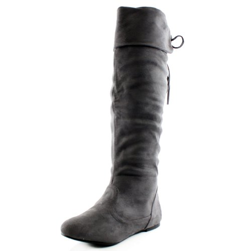 West Blvd Womens Bangkok Over The Knee Thigh High Boots,10 B(M) US,Grey Su