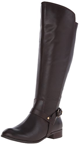Anne Klein Women's Kahlan Wide Calf Leather Riding Boot, Brown, 9 M US