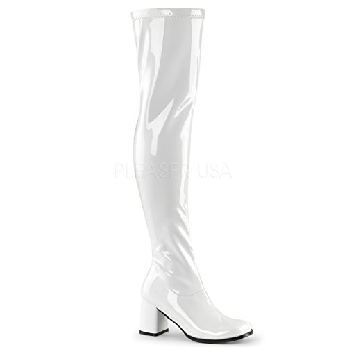 Funtasma Women's Gogo 3000 Block Heel White Boot 10 M