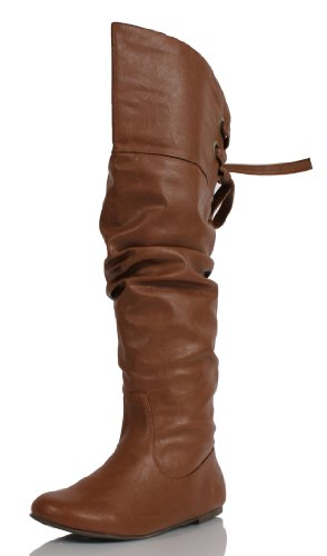 Women's Tan Slouchy Leather Over the Knee Flat Boots Letta 7