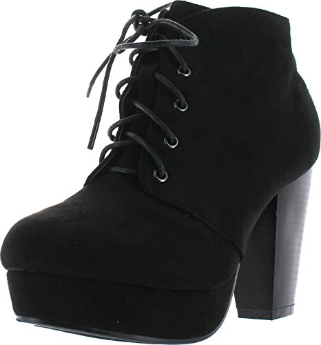 Forever Camille-86 Women's Comfort Stacked Chunky Heel Lace Up Ankle Booties,Black,10