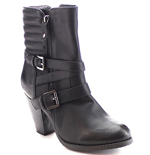 Women's Strappy Chunk Heel Dual Buckle Padded Back Dress Boots in Black, Tan, Brown (10, Black)