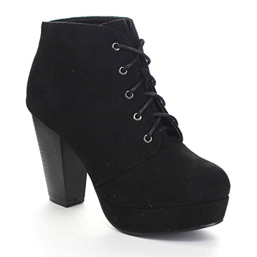 Forever Camille-86 Women's Comfort Stacked Chunky Heel Lace Up Ankle Booties,Black,7.5