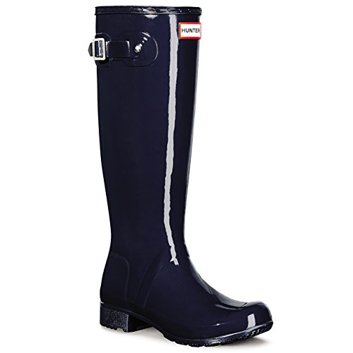Womens Hunter Original Tour Gloss Wellies Wellingtons Snow Rainboots – Navy – 7