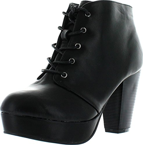 Titan Mall Forever Camille-66 Womens Fashion Chunky Heel Lace Up Ankle Booties (8 B(M) US, Black)
