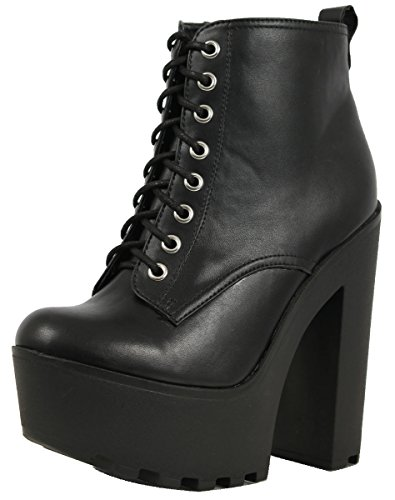 Soda Women's Gru Faux Leather Lace-Up Thick Platform Chunky Heel Lug Ankle Bootie, Black, 7 M US
