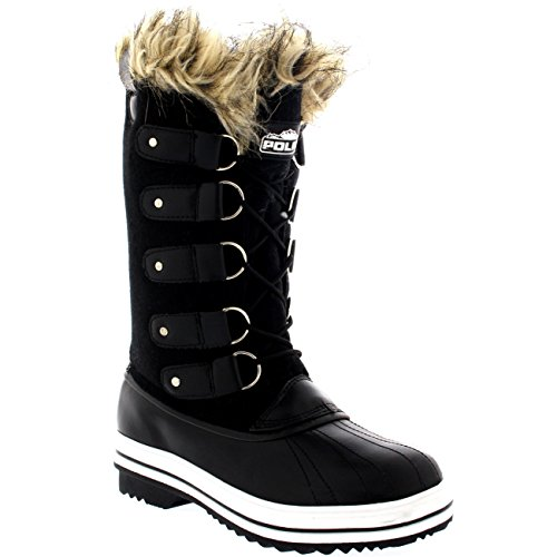 Womens Fur Cuff Lace Up Rubber Sole Tall Winter Snow Rain Shoe Boots – 9 – BLT40 YC0071