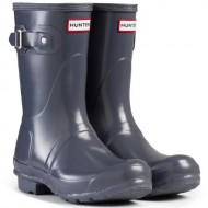 Women's Hunter Boots Original Short Gloss Snow Rain Boots Water Boots Unisex – Graphite – 8