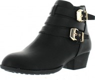 Top Moda CL-14 Women's Buckle Straps Stacked Low Heel Ankle Booties