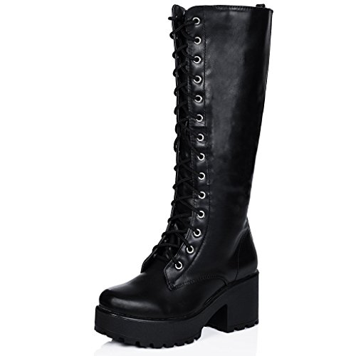 Block Heel Cleated Sole Lace Up Platform Knee High Boots Black Synthetic Leather US 7