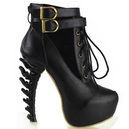 Show Story Black Lace Up Buckle High-top Bone High Heel Platform Ankle Boots,LF40601BK39,8US,Black