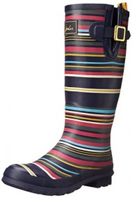 Joules Women's Welly Print Rain Boot, Navy Multi Stripe, 8 M US