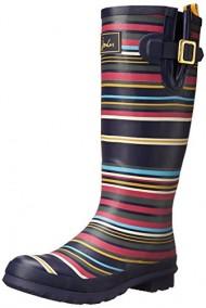 Joules Women's Welly Print Rain Boot, Navy Multi Stripe, 8 M US
