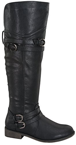 Top Moda Over The Knee Buckle Riding Boots Fay-42 Black (7)