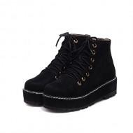 Charm Foot Womens Platform High Top Martin Boots (7.5, Black)