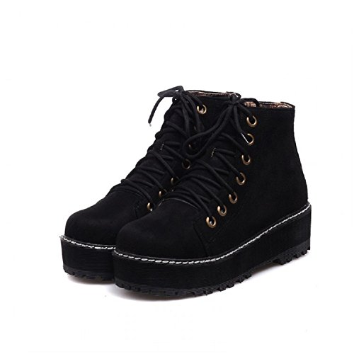 Charm Foot Womens Platform High Top Martin Boots (7.5, Black)