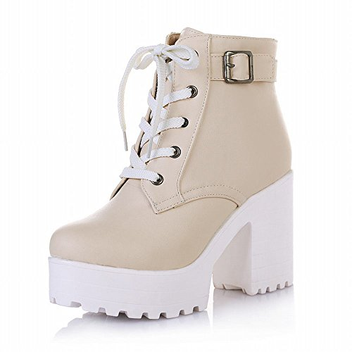 Latasa Women's Fashion Platform Ankle-high High-heel Chunky Boots, Lace-up Martin Boots